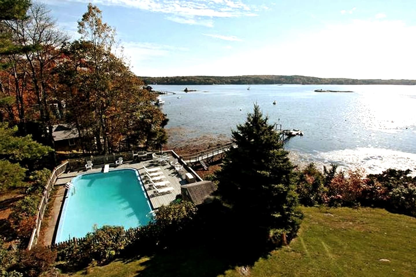 Brand new Inground pool and  private dock located on beautiful Linekin Bay
