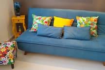 Sofá cama + decoração