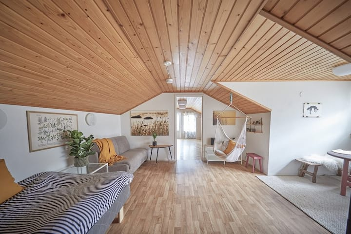 Hygge Attic in countryside surrounded by forest