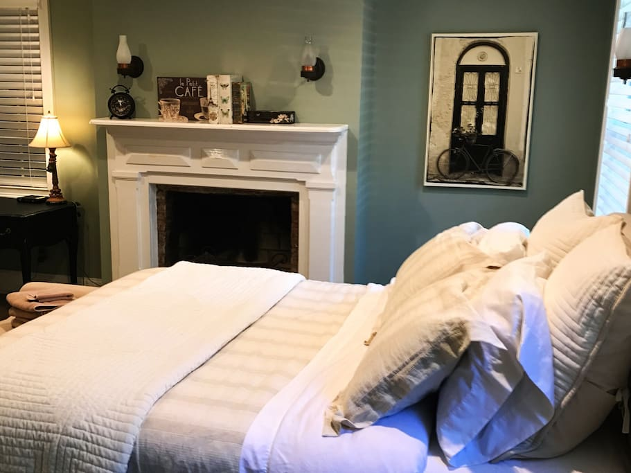 Sink into the beautiful linens after a long day of exploring Savannah!