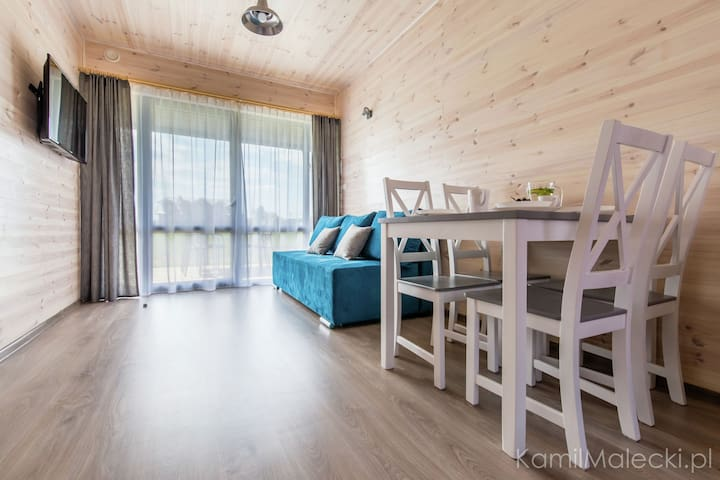 Comfortable apartment in a wooden cabin by the sea in Krynica Morska
