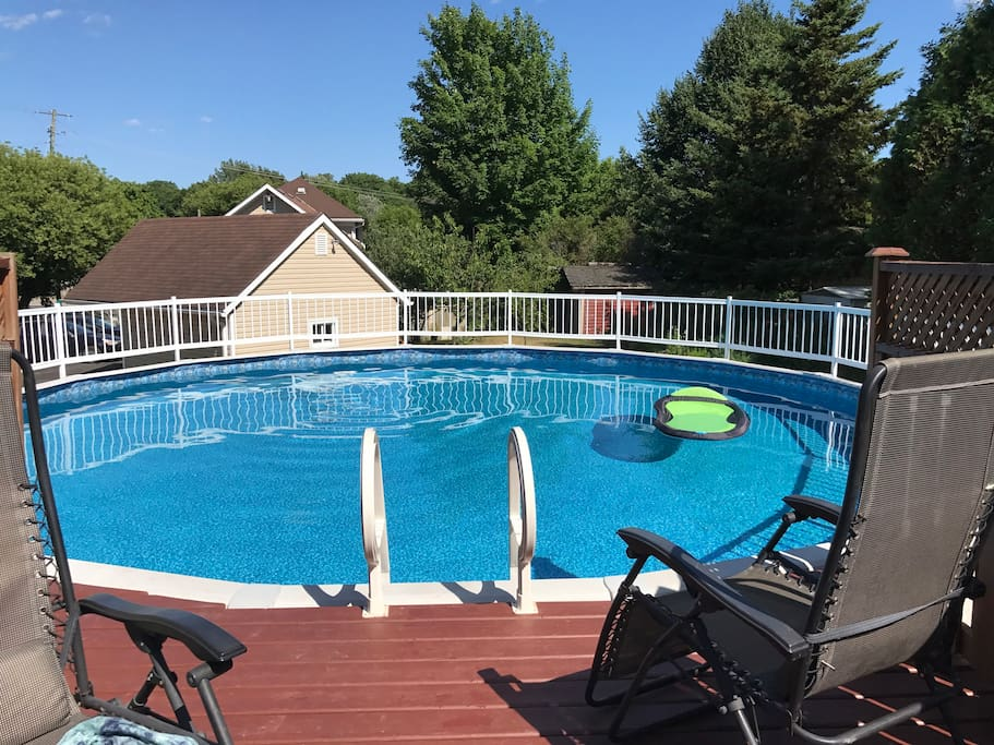 27 foot above ground pool open in July and August.