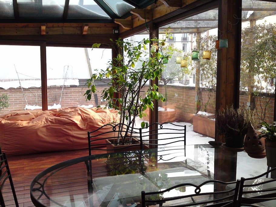 La veranda della Terrazza in inverno