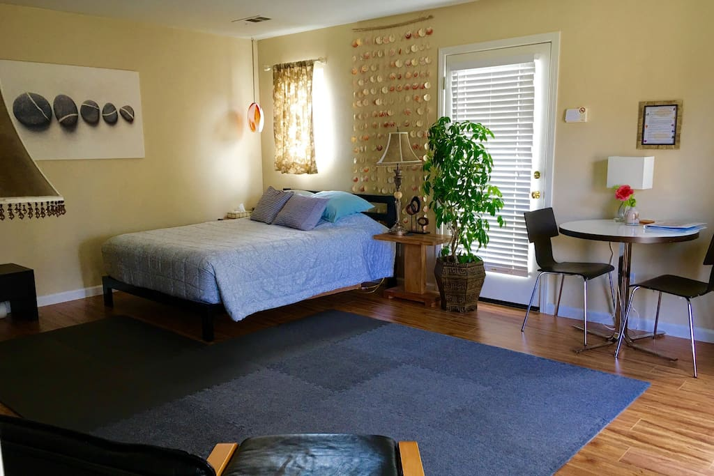 Spacious private guest room with Queen size bed and kitchenette