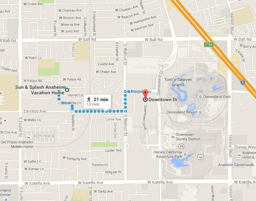 Less than a mile from Disney. Come early to beat the crowds! Ride tram from downtown Disney!
