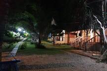 cottages and ground view at night time