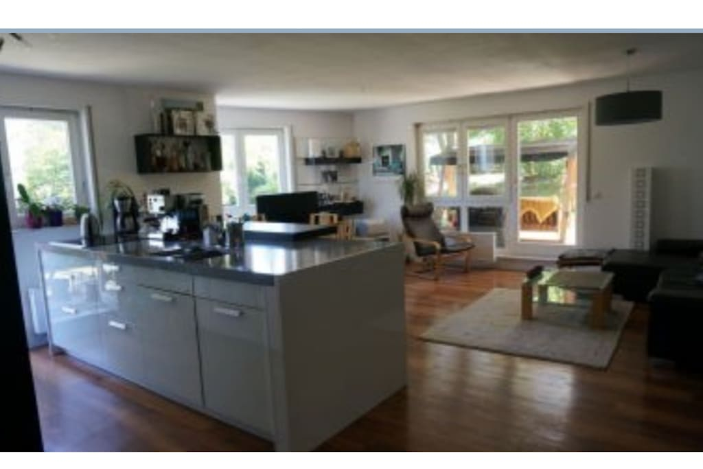 Living & dining room with open kitchen