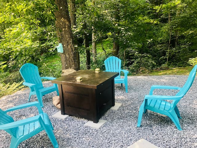 gas-powered fire pit for s'mores and more!