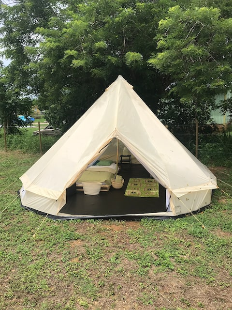 Glamping tent in nature for an outdoor escape
