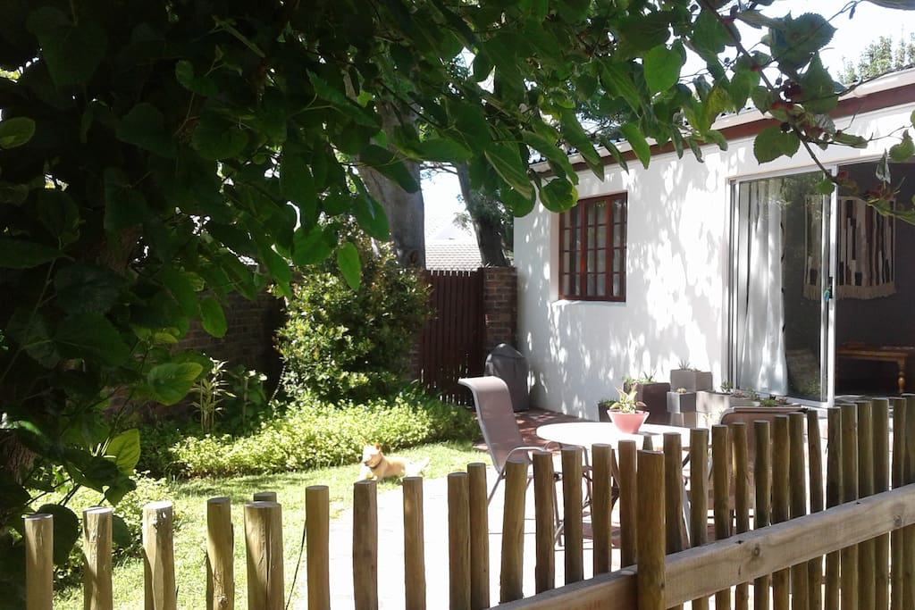 Private enclosed garden and barbecue area at entrance to the cottage.