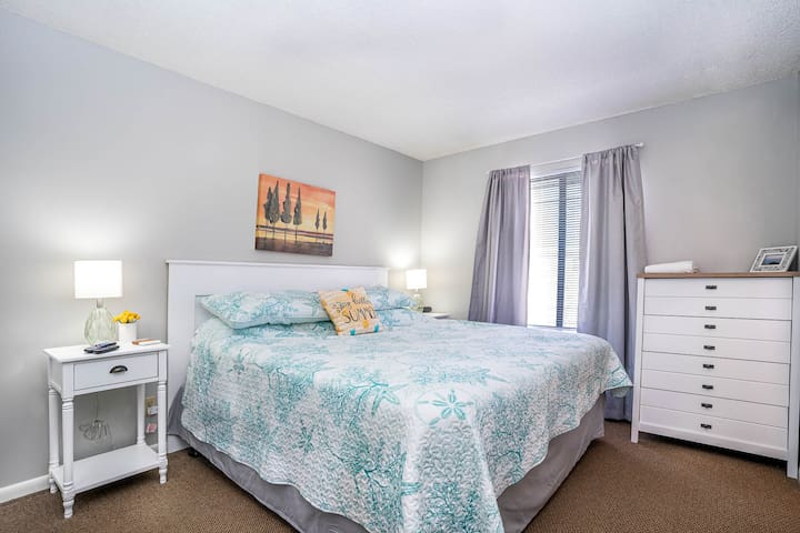 Master Bedroom with King Sized Bed and Private Full Bath!