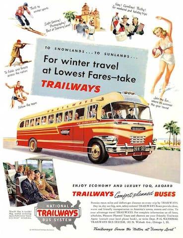 Take Trailways to the Motel, no car needed
