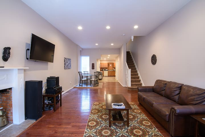 Main level - Living room, dining area & kitchen.