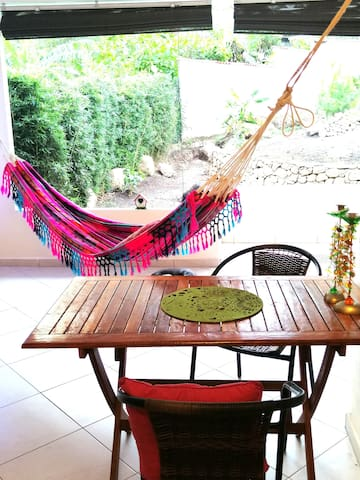 Nice very big terrace with kitchen, Hammocks and garden View