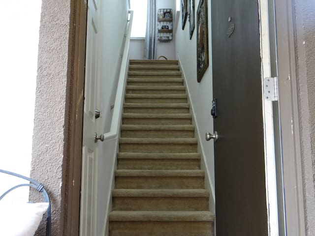 Stairway to unit. Private space for guests.  (Be cautious with small children).
