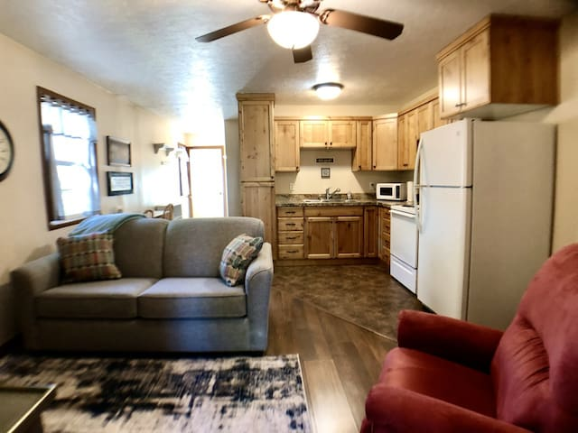 Comfy living room and kitchen