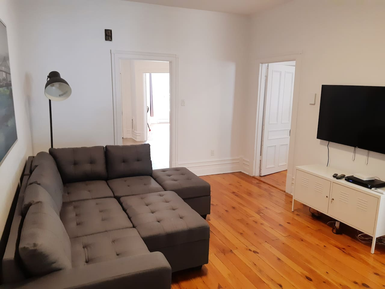 Large living room with cable tv