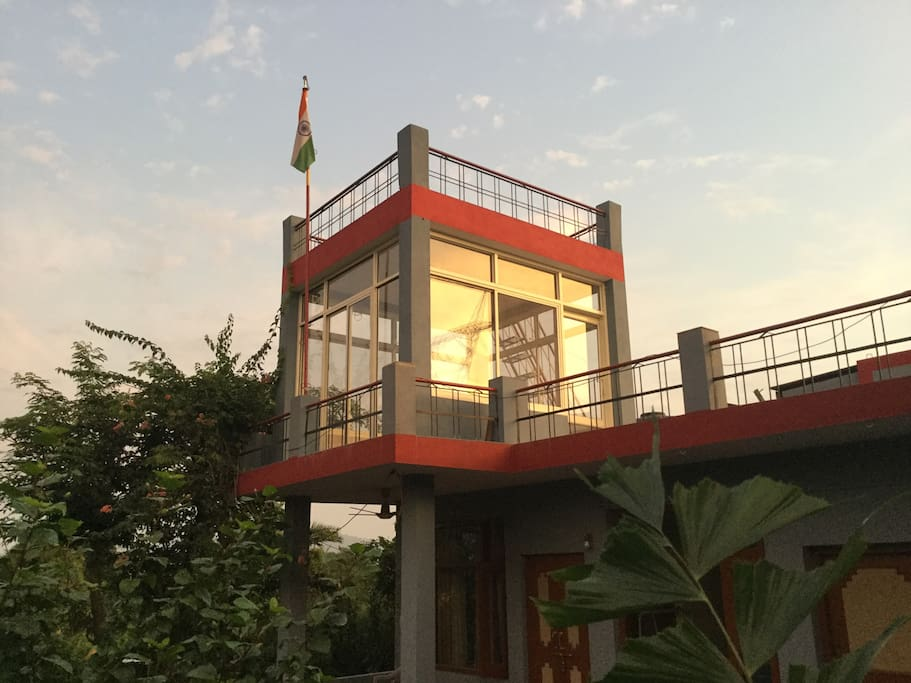 Roof top  Glass House with 360 Degree view of Shivalik Hills in Himalaya.