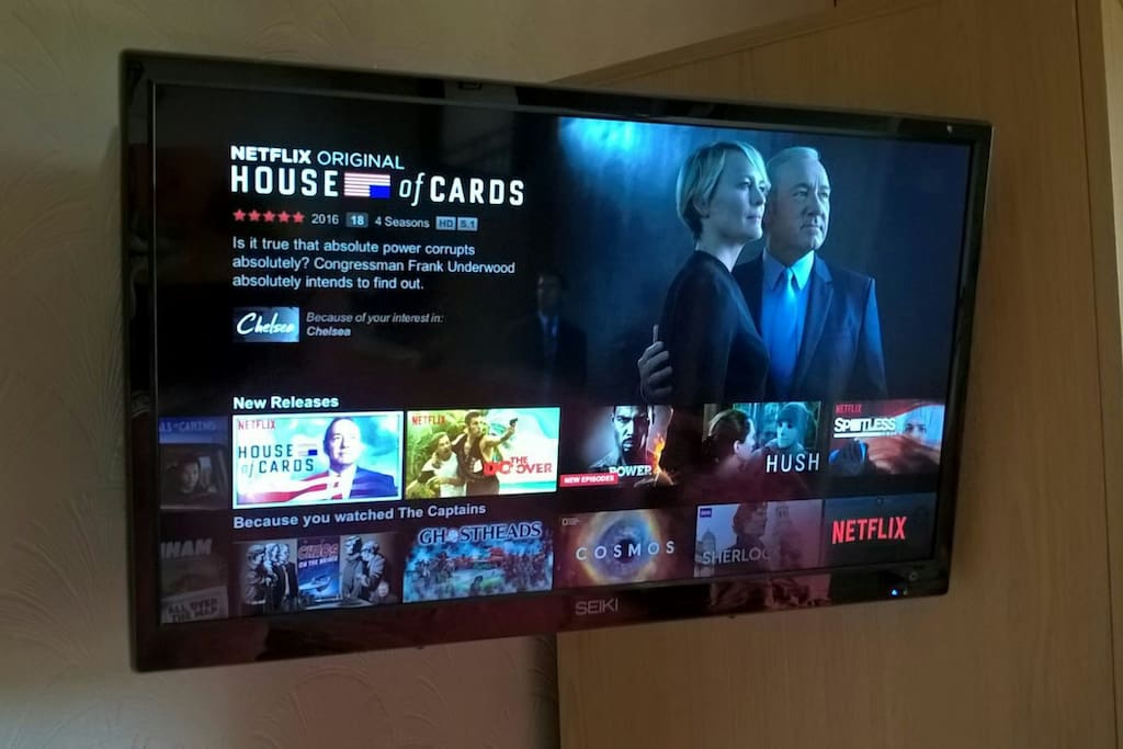 60 channel TV with catch up, radio and Netflix in your room