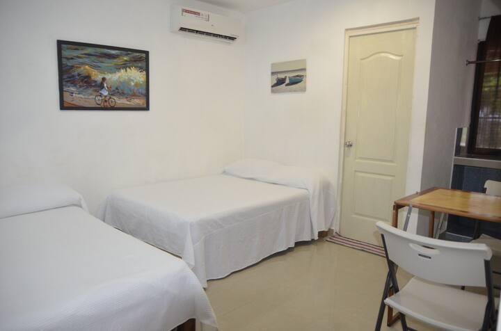 Habitación con baño privado 2 camas matrimoniales