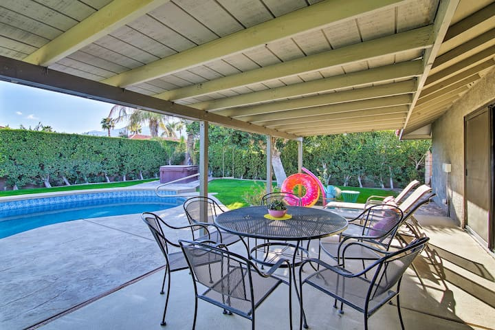 Enjoy a pool, hot tub, gas grill, hanging swing, lounge chairs, patio, & more.