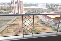Balcony with city view