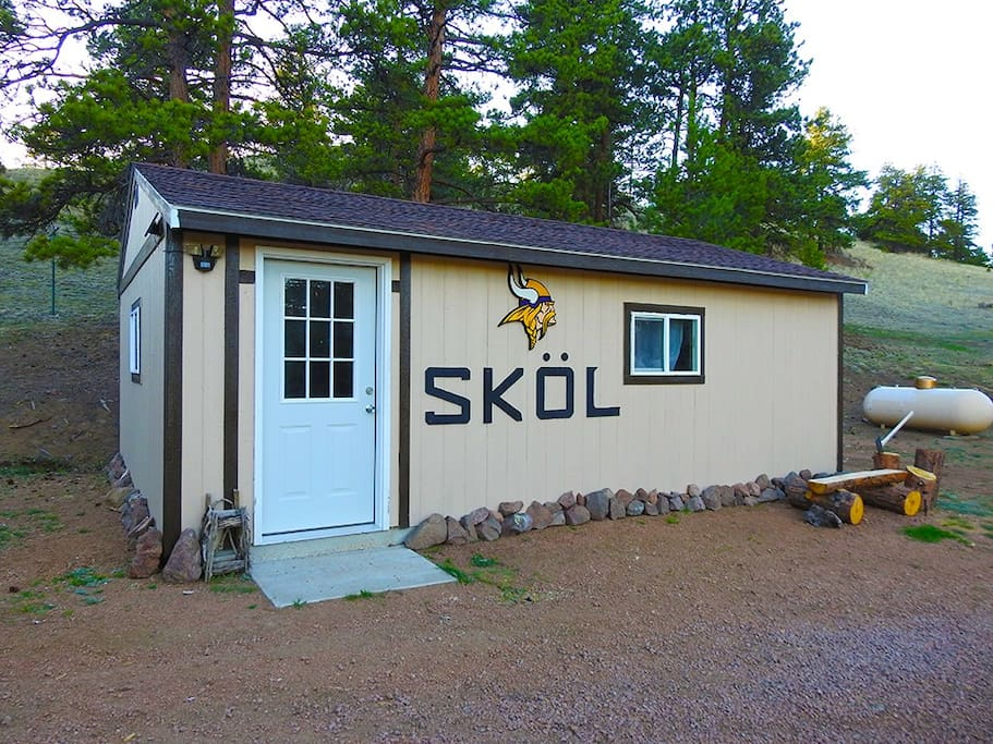 "16x24 converted utility shed is our ""SKOL Cabin"""