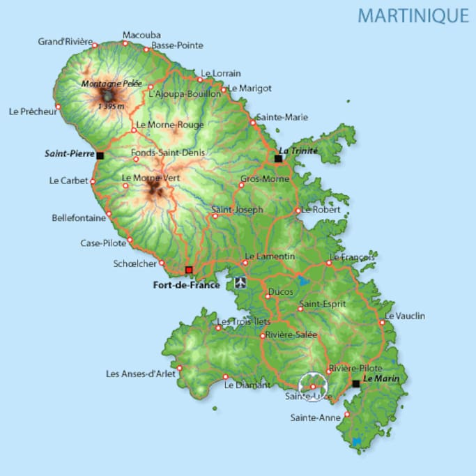 CARTE ROUTIERE DE LA MARTINIQUE