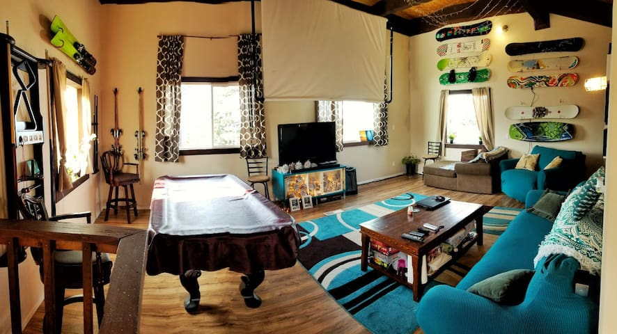Pet friendly mountain room w/ski shuttle + views.