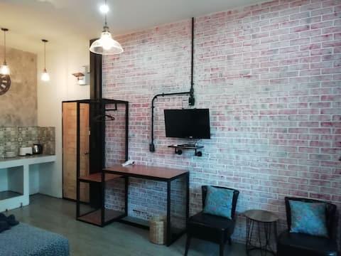 Twin studio with kitchen 500m from Saikaew beach.