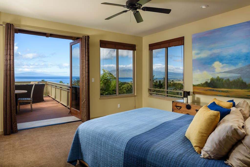 View from Bed Opens Through French Doors onto Private Lanai