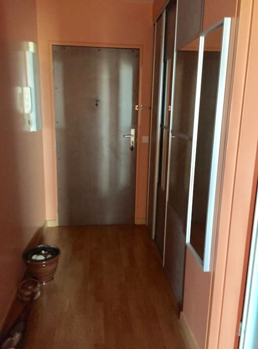 Entree de l'appartement et entrée directe à droite dans la suite : chambre et salle de bain.