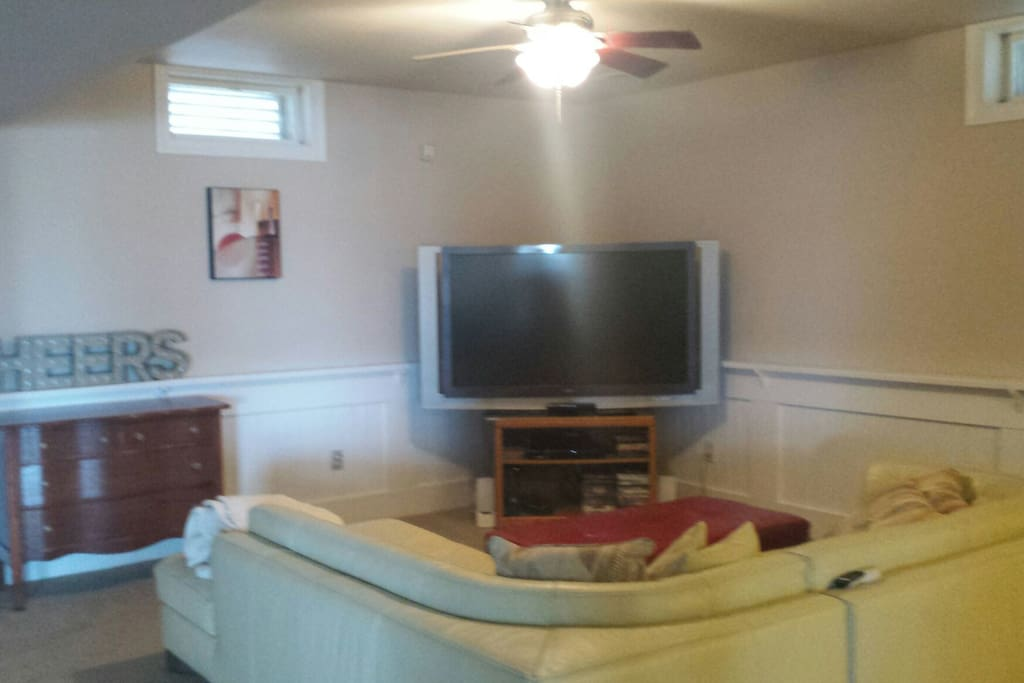 Large TV and living area.
