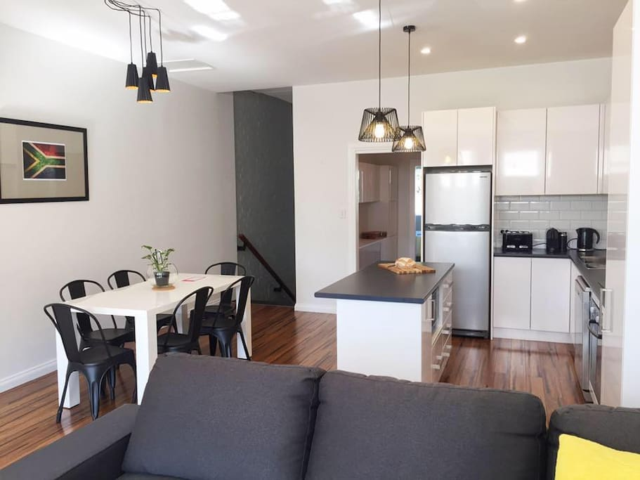 This is a great home away from home. Enough space to cook for dinner guests with induction cooking, inverter microwave and a great dishwasher!