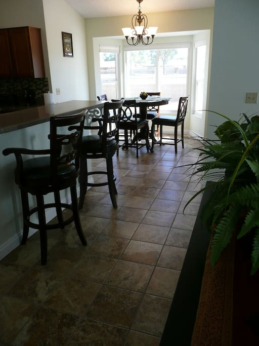 Eat in kitchen with bay window that overlooks the golf course.
