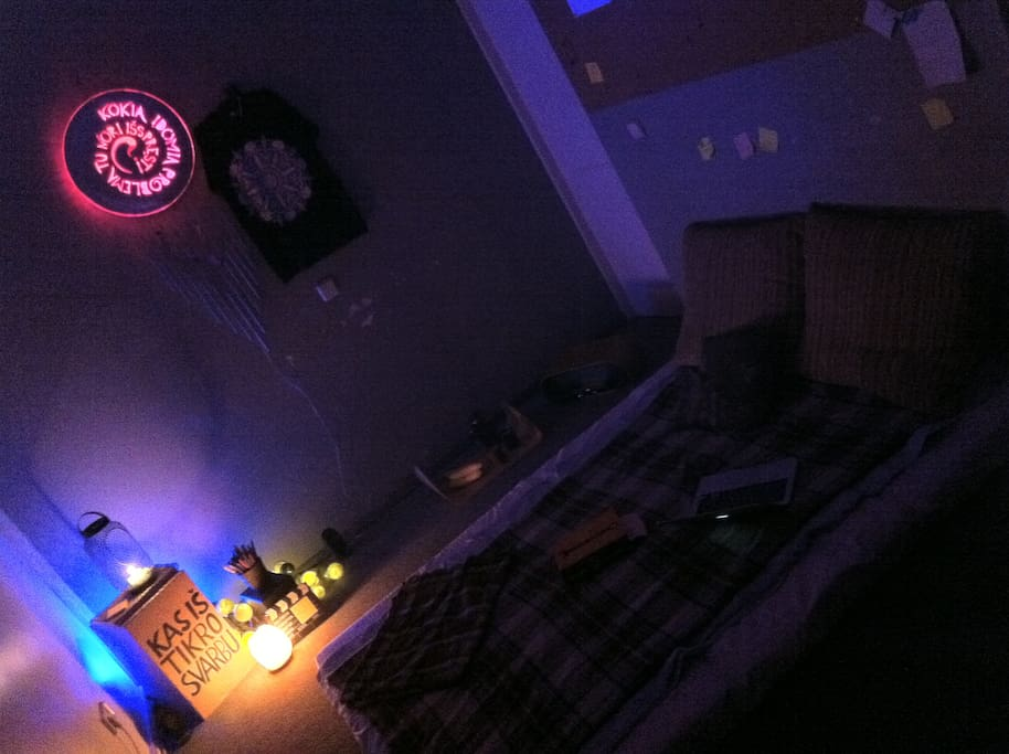 Main space, night time mode - mattresses turned into a double bed.
