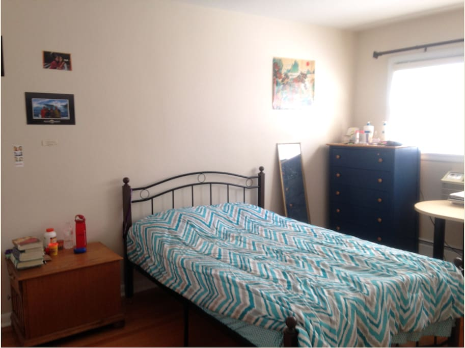 Bedroom #1- Well lit, comes with double bed, lots of storage space, and a desk