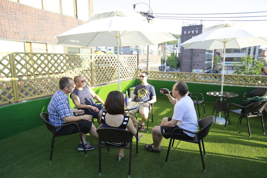 We have a rooftop for hanging out with a coffee or grabbing a few beers with a BBQ party.