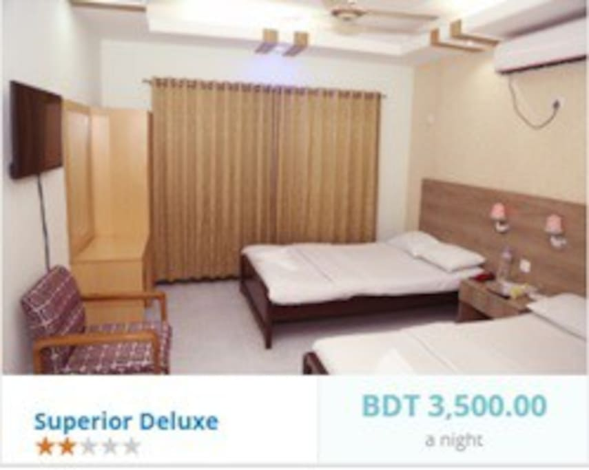 Modern comfort in Dhaka  Well-appointed Superior Deluxe rooms offer excellent amenities including a fully equipped that you have a comfortable stay in Dhaka. Bed Type: King or Twin Highlights: Free WiFi, LED TV, Maximum Adults: 3 (including one extra bed)