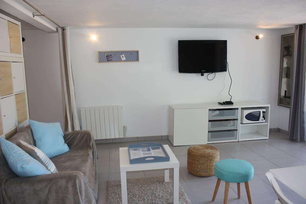 salon avec tv murale (accès tnt) et WIFI
