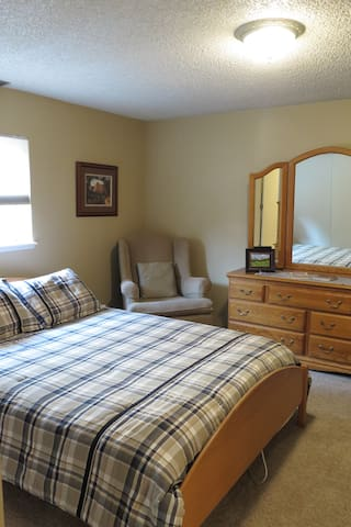 Comfortable bed and 2 sets of drawers.