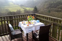 Penroc balcony overlooking the Ystwyth Valley