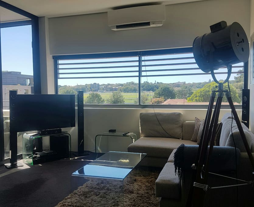Living room with panoramic racecource view