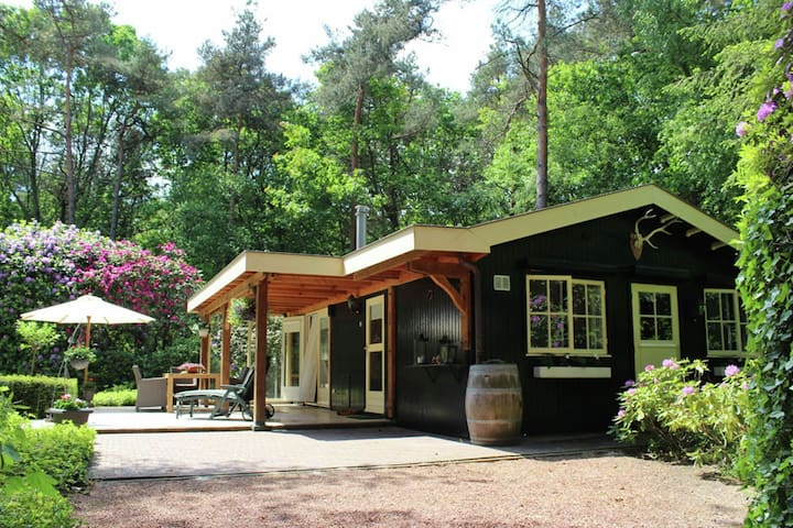 Romantic wellness bungalow for two, set in the forest, with a sauna and Jacuzzi