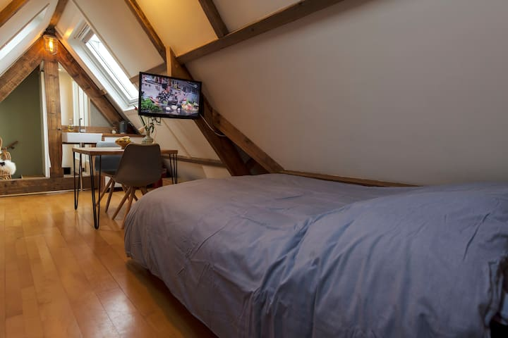 double bed with television