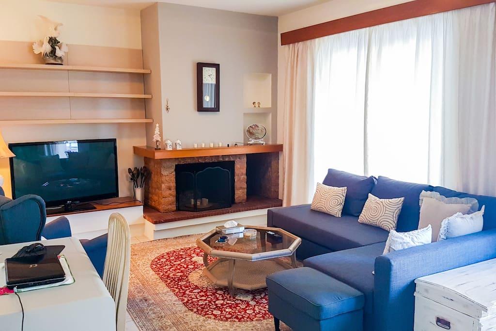 Living room with comfortable sofa, fireplace and big flat TV
