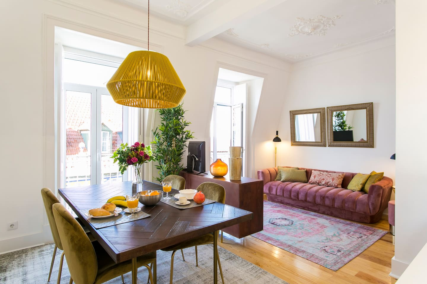 Bright dining and living room area!