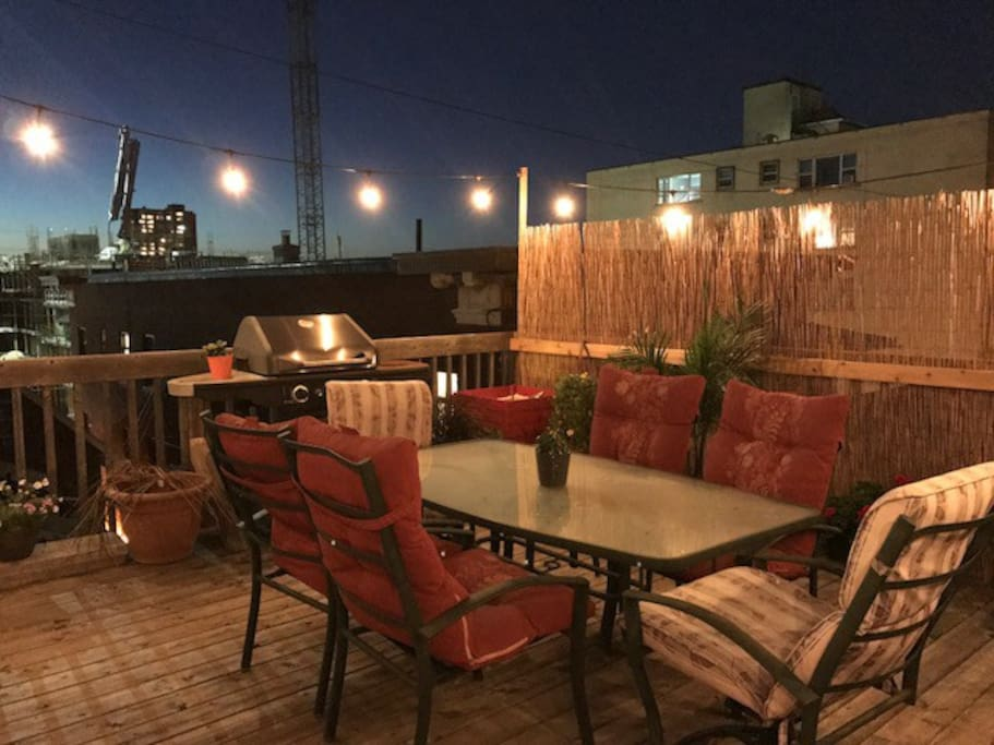 Spacious private rooftop terrace equipped w/ BBQ and patio set