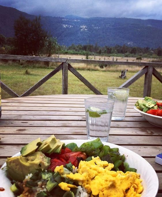 Farm fresh eggs, roasted veggies and avocado on the porch before a hike!