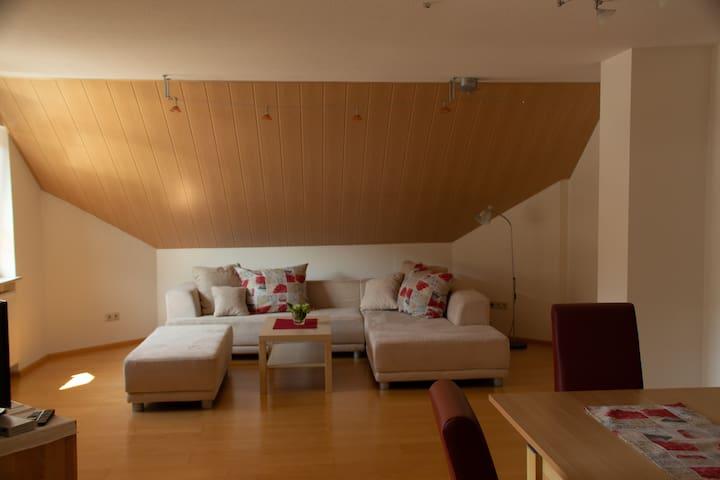 Das geräumige Wohnzimmer mit Schlafcouch
